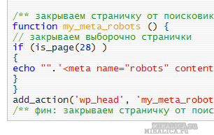 Как закрыть отдельную страницу-запись, тип рубрик от индексации