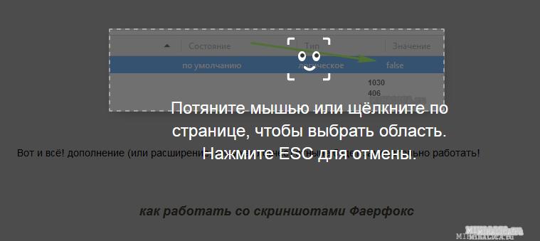 скриншоты в браузере Фаерфокс